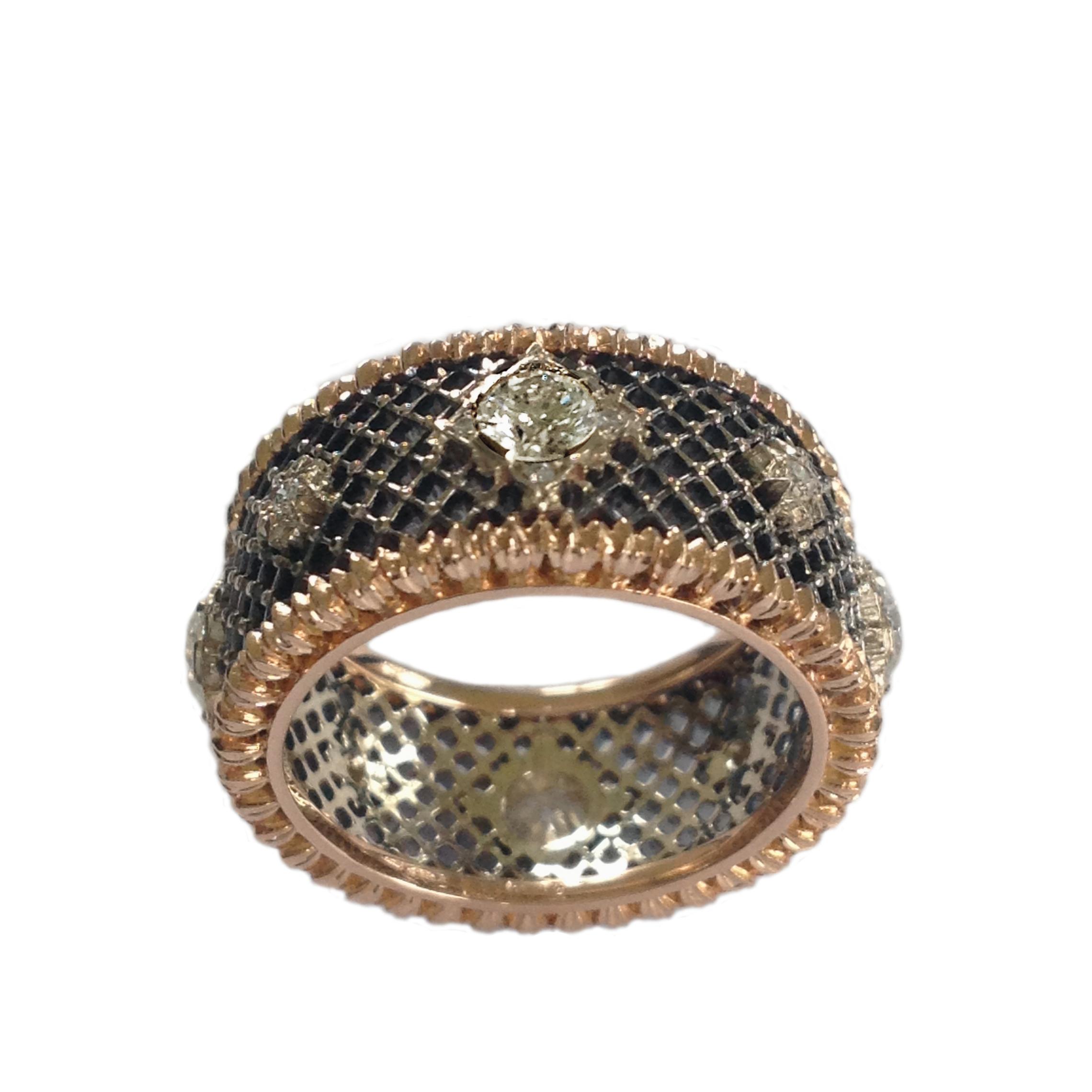Dalben Diamond Gold Openwork Band Ring