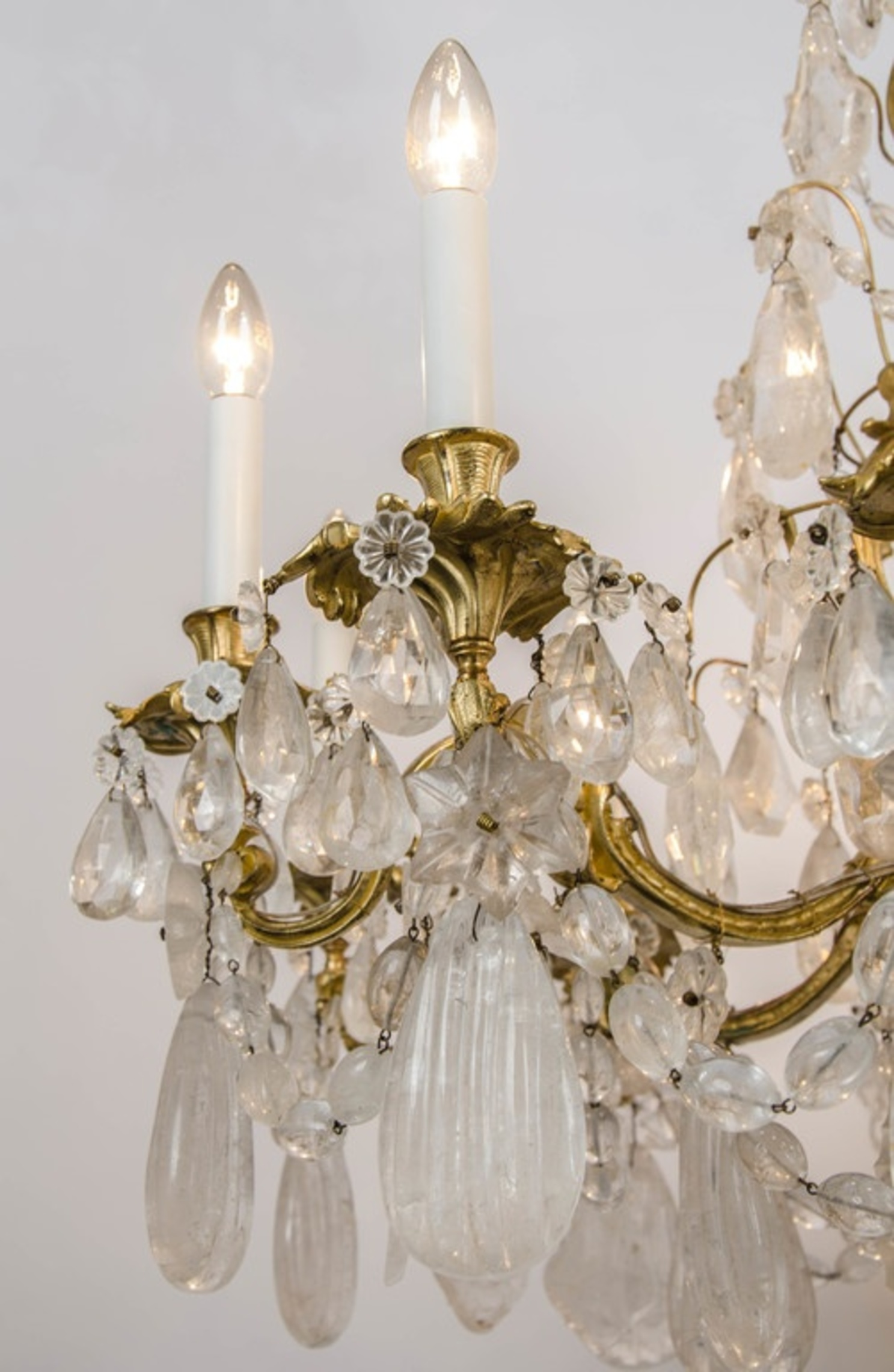 French Bronze Rock Crystal Chandeliers
