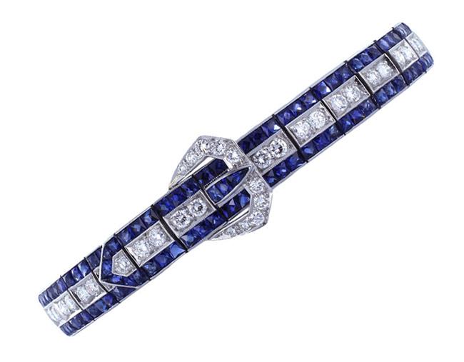 Estate Sapphire & Diamond Buckle Bracelet