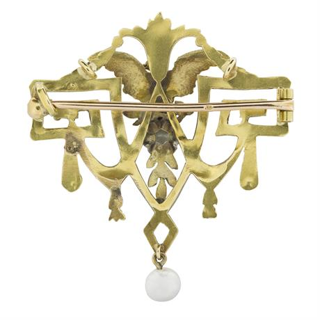 A FRENCH BELLE EPOQUE CARVED YELLOW GOLD BROOCH