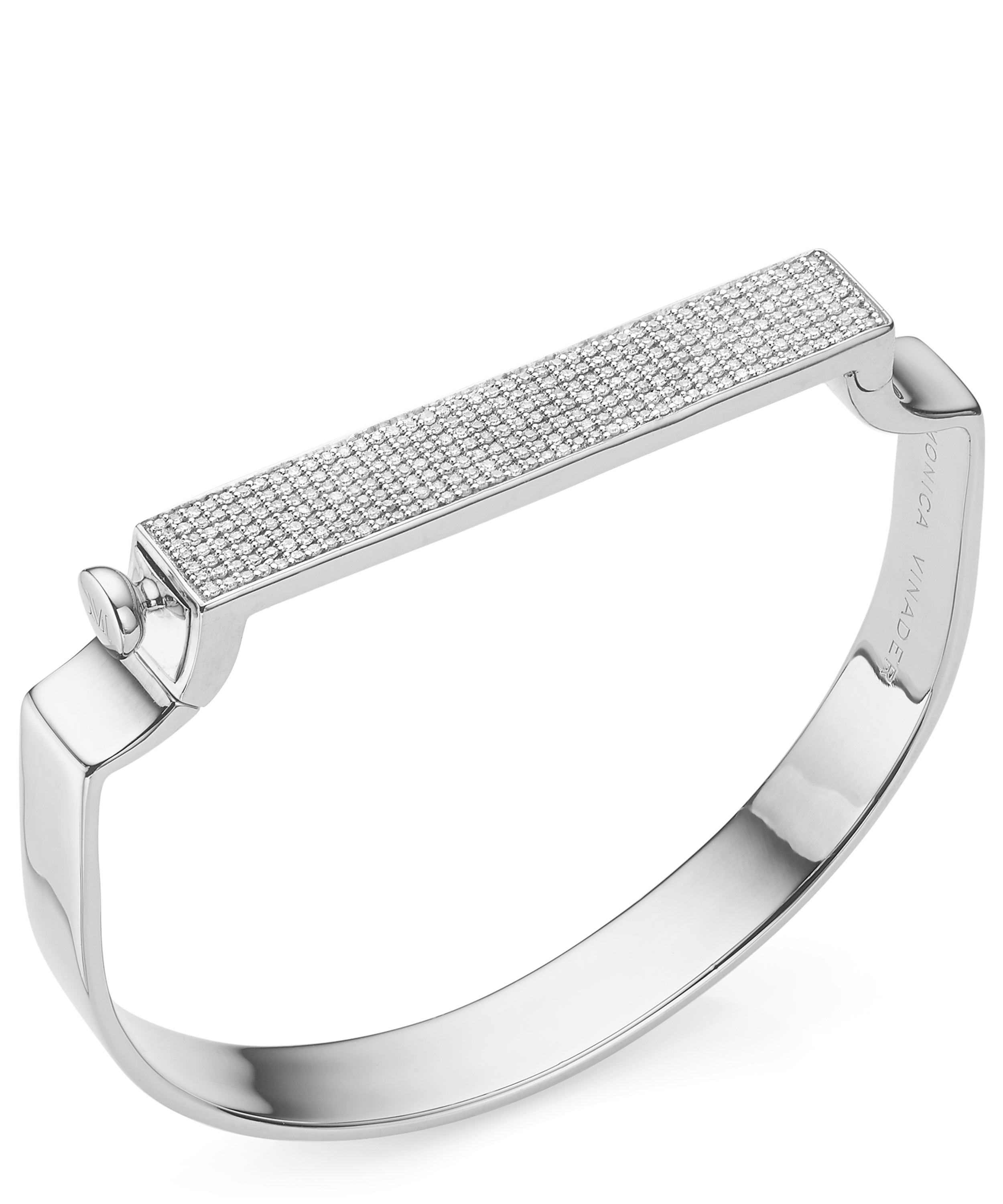 MONICA VINADER Silver Signature Diamond Bangle