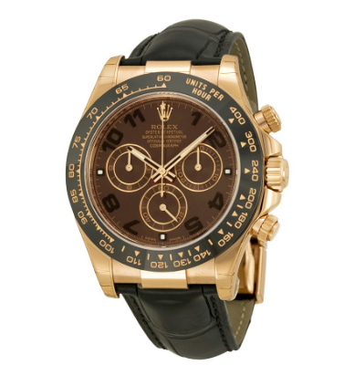 Cosmograph Daytona Chocolate Dial Automatic Black Leather Men\'s Watch