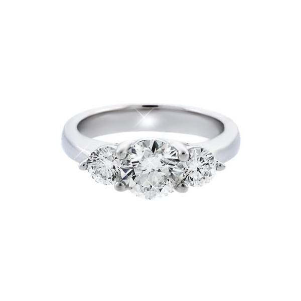 1.47 Carat Three Stone Diamond Engagement Ring 14K White Gold (1.47 ct. tw.)