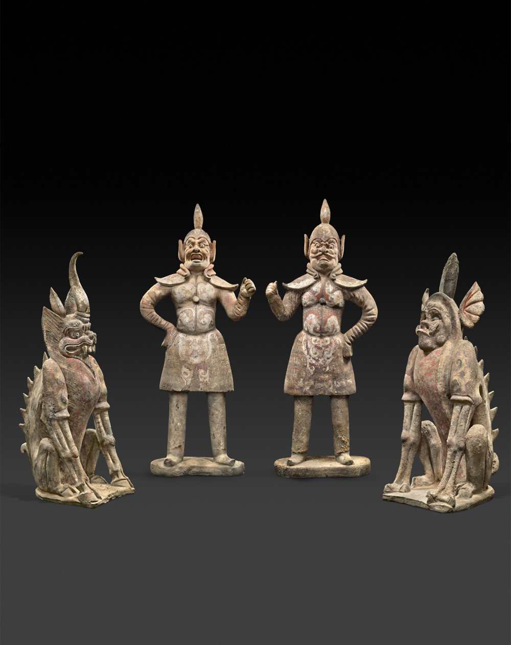 GROUP OF GUARDIAN FIGURES AND CHIMERAS