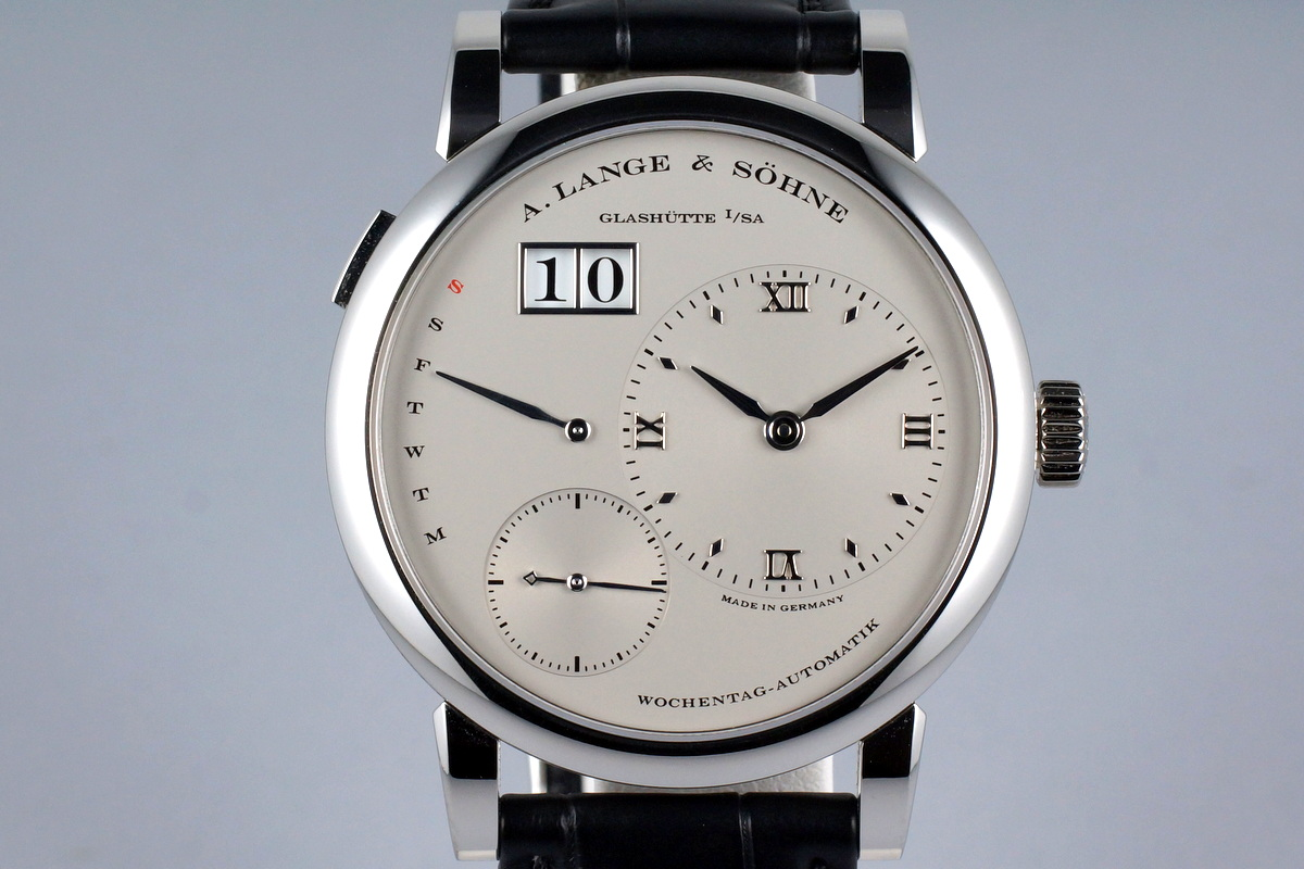 2015 A. LANGE & SOHNE LANGE 1 PLATINUM DAYMATIC 320.025 WITH BOX AND PAPERS