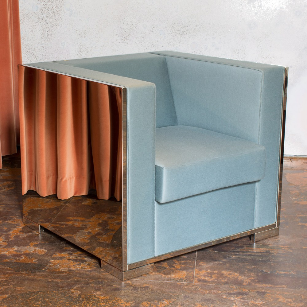 Glossy Armchair with Upholstery