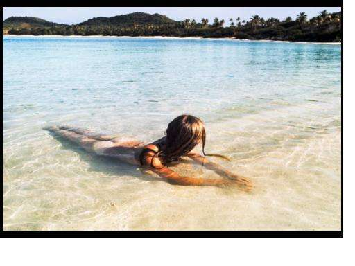 Model on L\'Ansecoy Beach, Mustique 1972