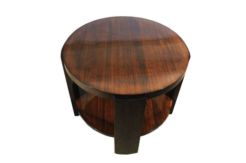 Zebrano and Mahogany Side Table from the Art Deco Era