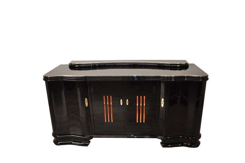 Illuminated Art Deco Sideboard with Serpentine Doors