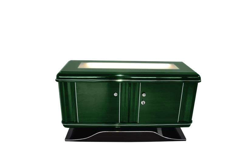 Illuminated Art Deco Commode Jaguar Racing Green