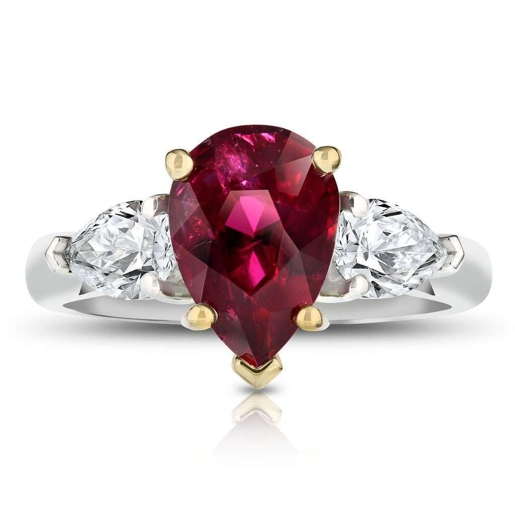 3.08 Carat Pear Shape Ruby Ring
