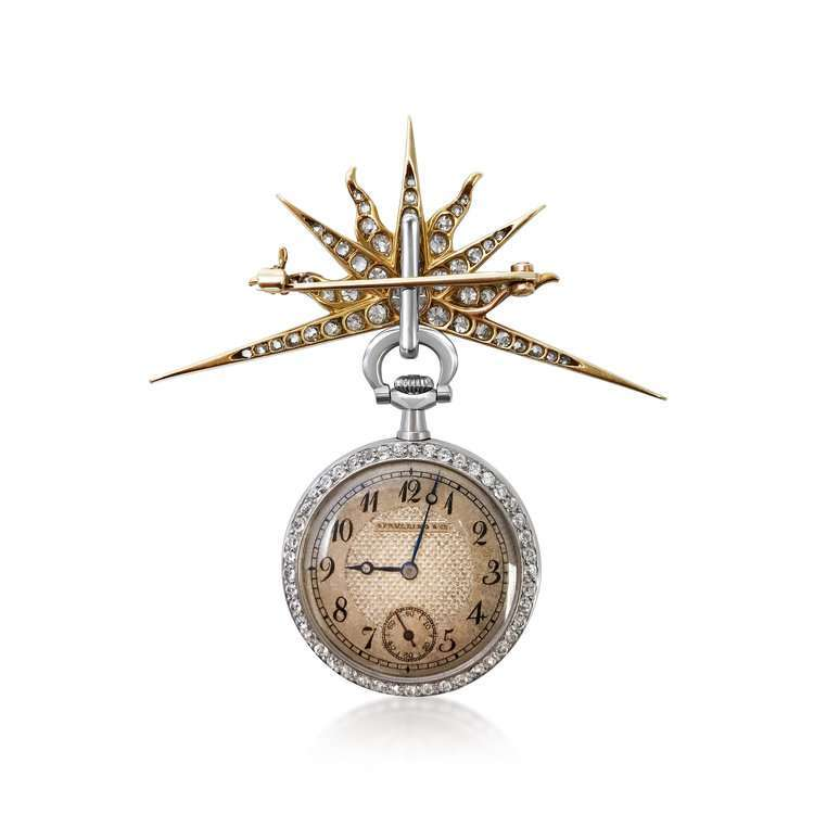 A DIAMOND AND 18K GOLD POCKETWATCH BY SPAULDING & CO., CIRCA 1920