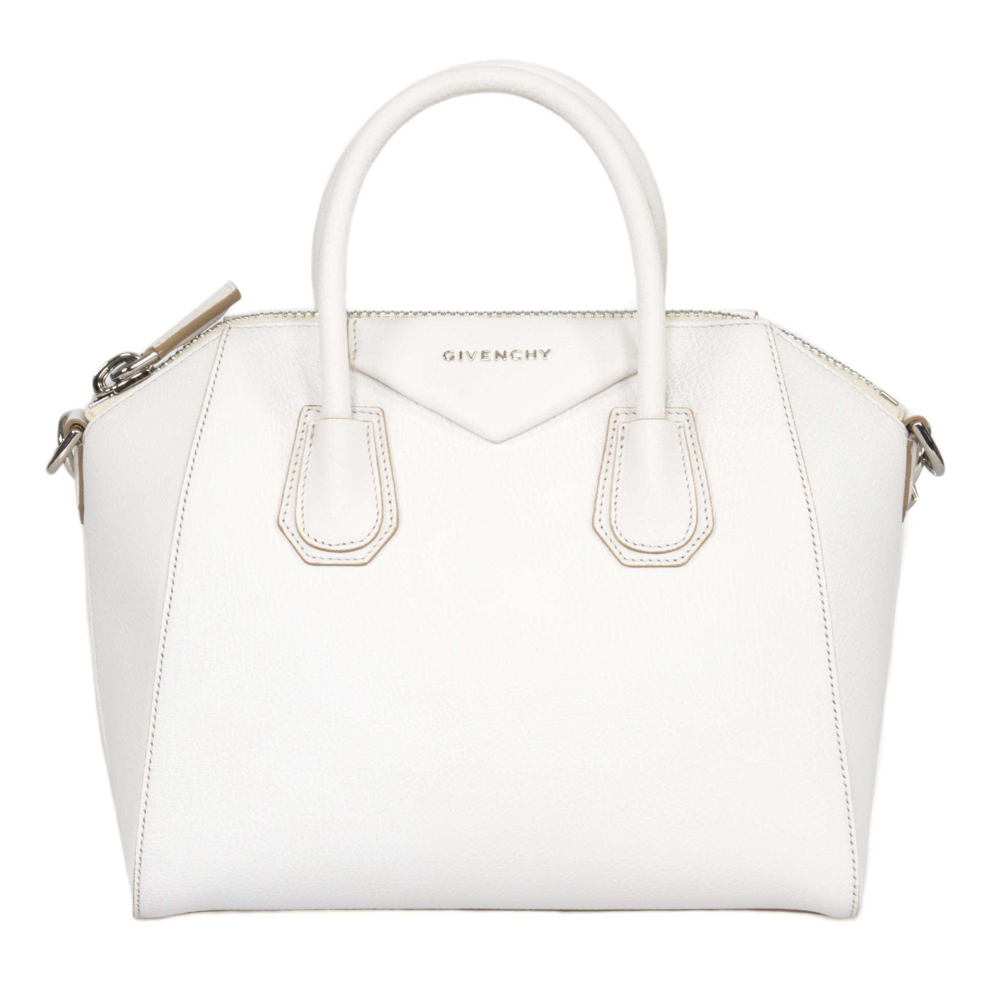 Givenchy Antigona Sugar Goatskin Satchel Bag   White & SIlver Hardware   Small