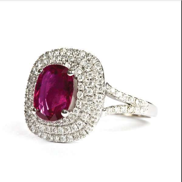 GRS certificated Ruby & Diamond ring.