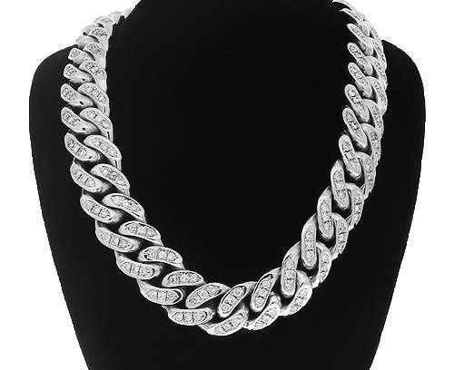 14K White Gold Diamond Cuban Chain 20.00 CT