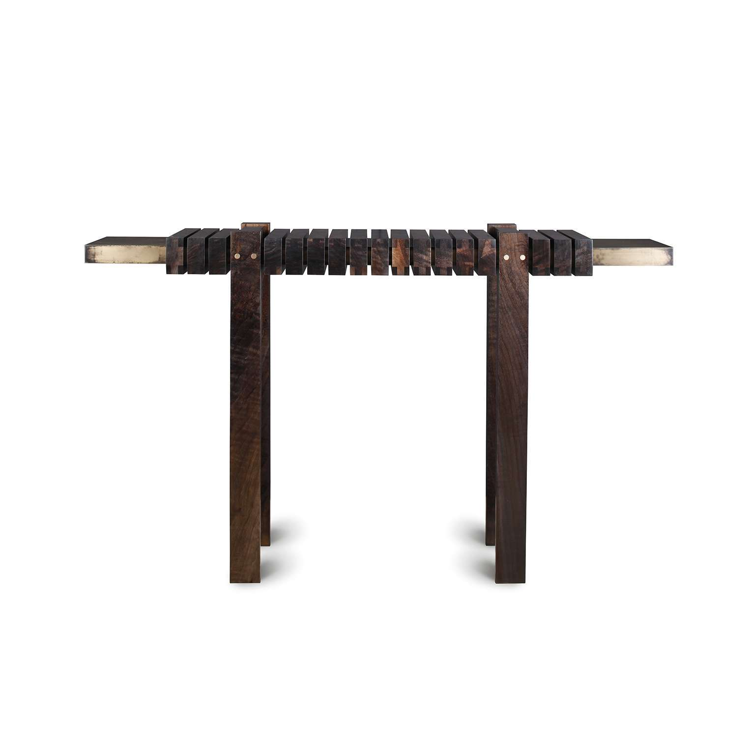 ""\""""The Bridge"""" Console Table in Smoked Walnut and Etched Bronze by Studio Roeper""1536|1536|?|en|2|ba0449988e10425f7be5d6d07918cee0|False|UNLIKELY|0.32306820154190063