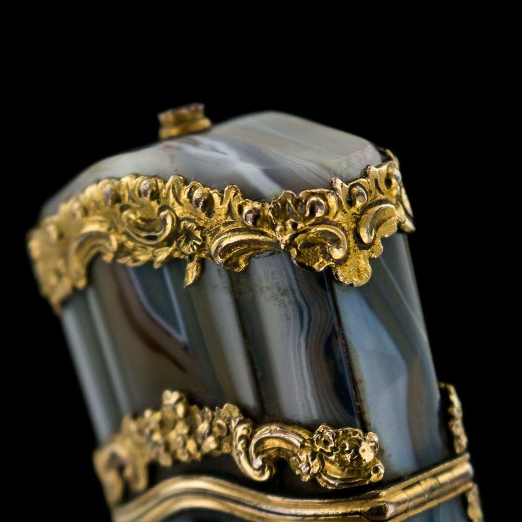 ANTIQUE 18thC GEORGIAN 18k GOLD MOUNTED AGATE ETUI, LONDON c.1760
