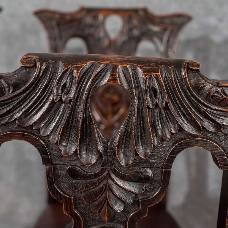 Set of Four Quality Oak Dining Chairs English Victorian Leather Seats circa 1870