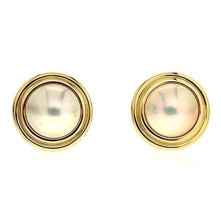 Mabe Pearl Earrings in Gold