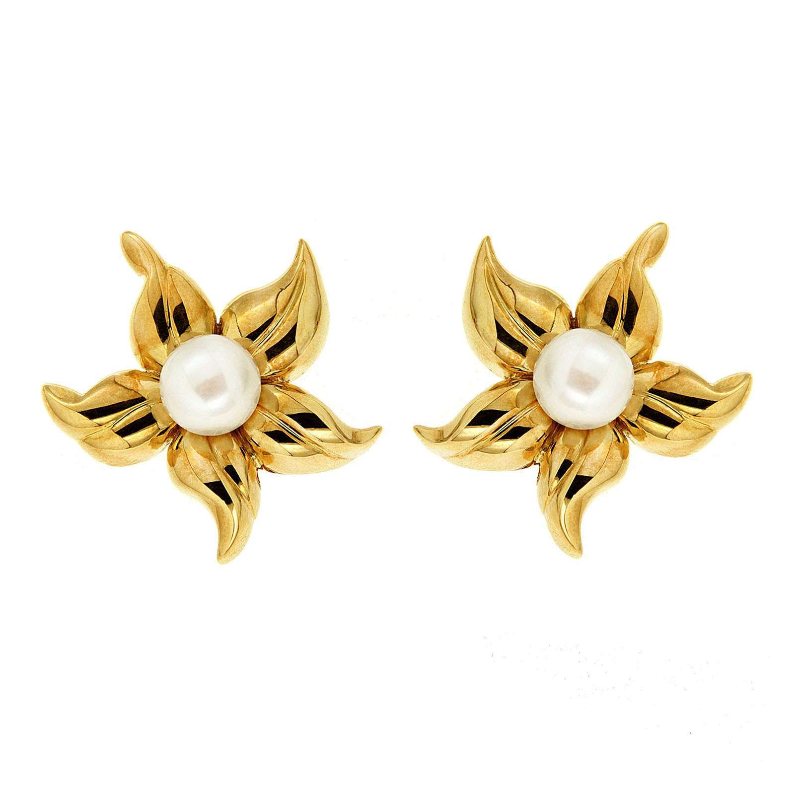 Lilia\'s Flower Blossom Earrings with Pearl Center