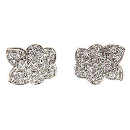 Pave Diamond Flower Earrings