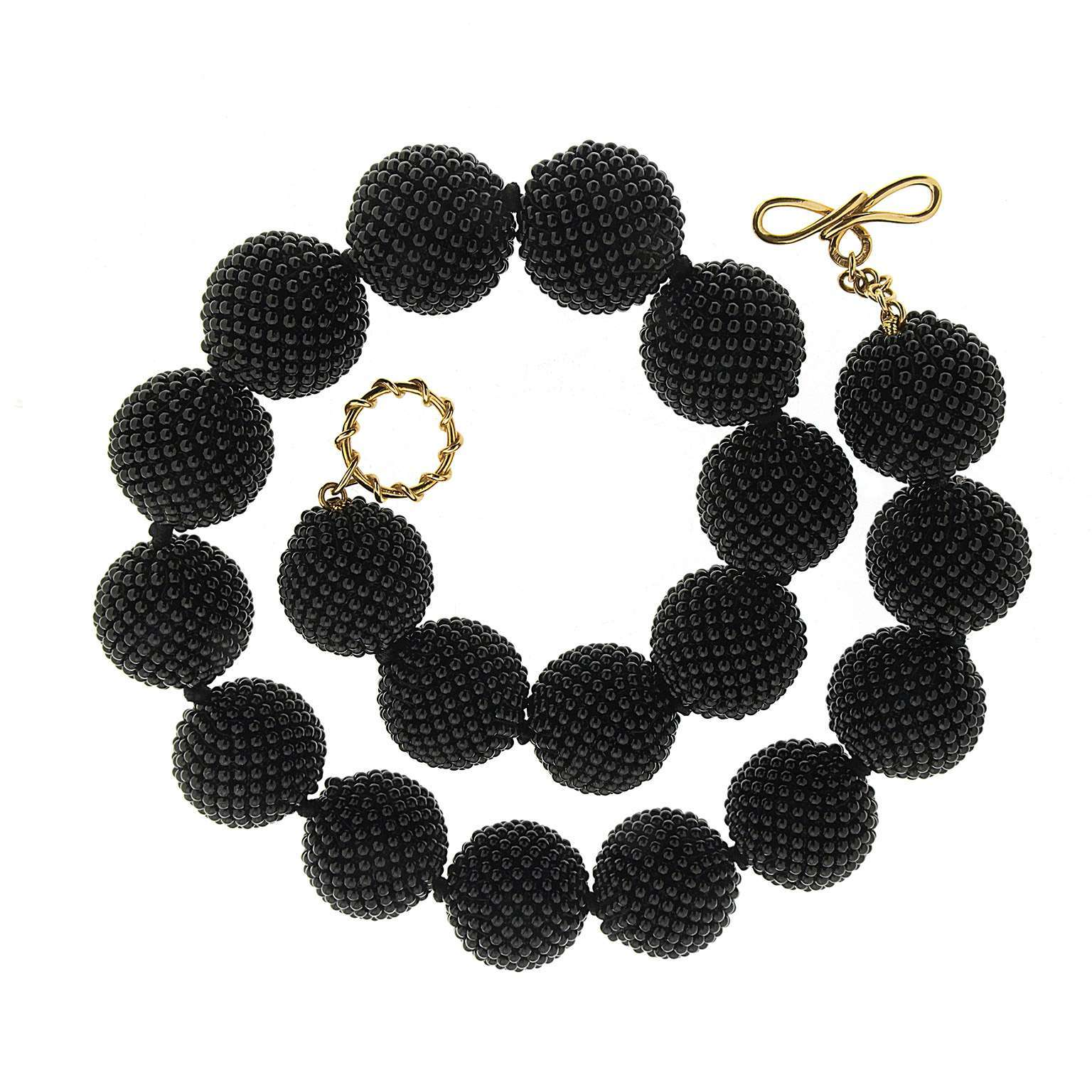 Black Onyx Woven Ball Necklace