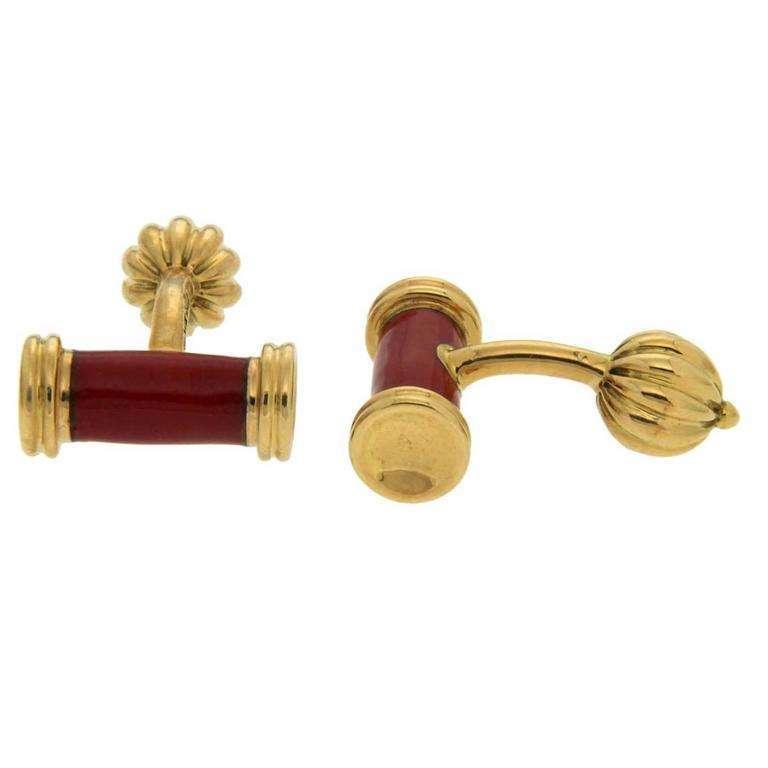 Red Enamel Gold Bar Cufflinks