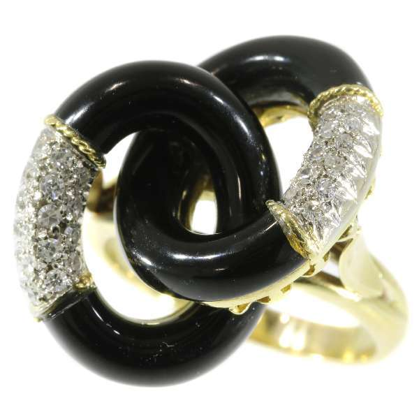 Vintage Onyx and Diamond Ring From Italy ca.1970