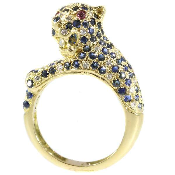 Vintage Gemstone and Gold Leopard Ring ca.1960
