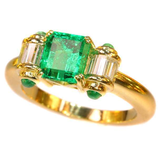 Vintage Colombian Emerald and Diamond Ring ca.1980