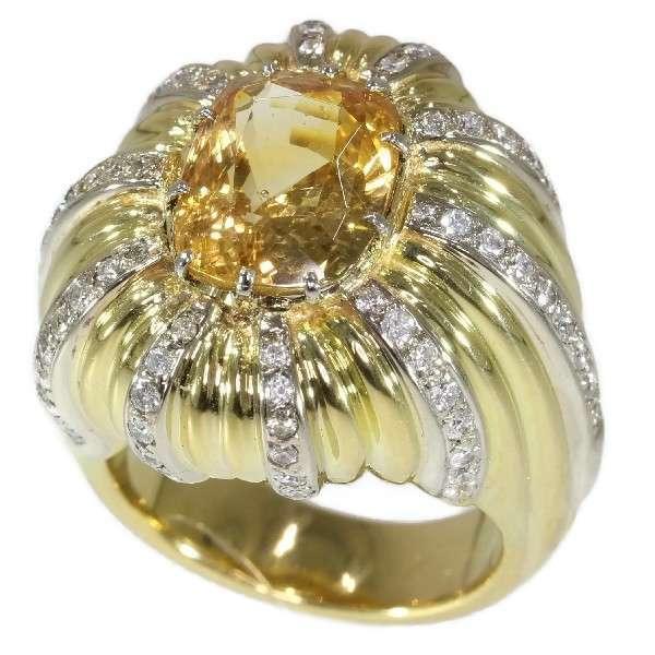 Vintage Natural Yellow Sapphire and Diamond Statement Ring