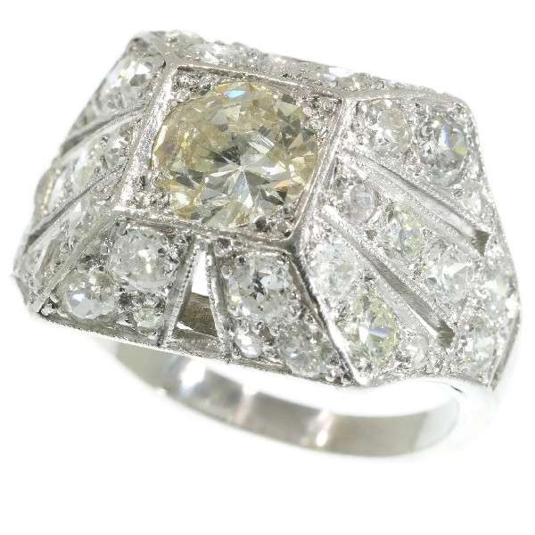 Large Art Deco Diamond and Platinum Statement Ring