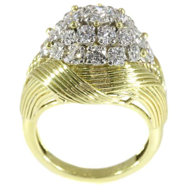 Vintage High Domed Diamond and Gold Ring by Mauboussin