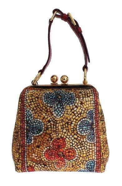 Dolce & Gabbana AGATA Mosaic Print Caiman Crocodile Hand Bag