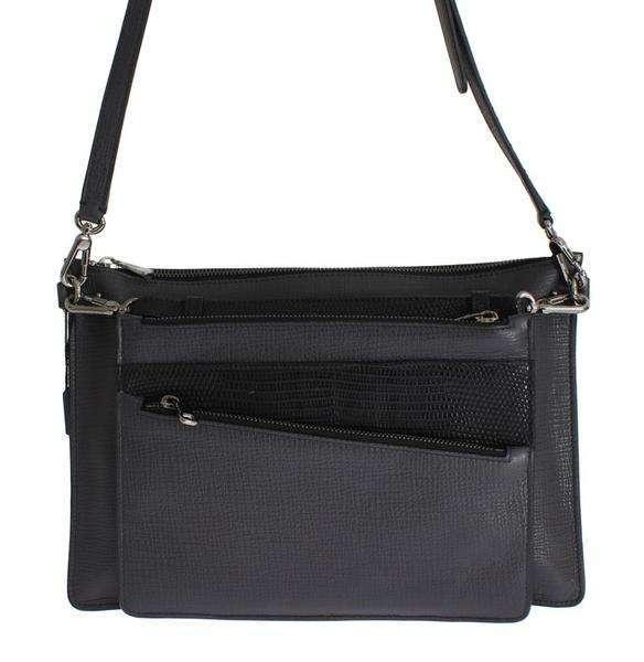 Dolce & Gabbana Gray Lizard Leather Shoulder Cross Body Men Messenger Bag
