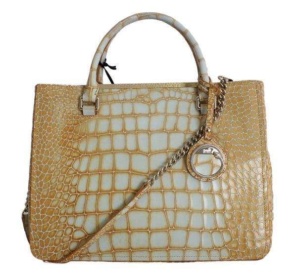 Cavalli Orange Leather Shoulder Satchel Bag