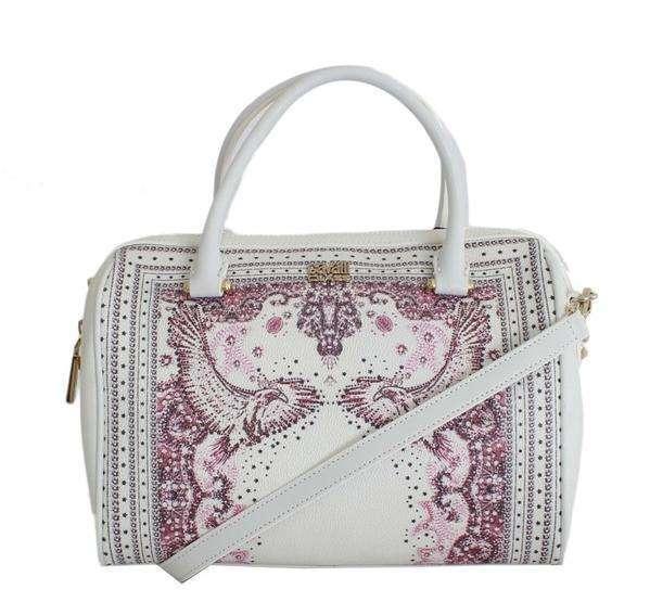 Cavalli White Pink Print Hand Shoulder Bag