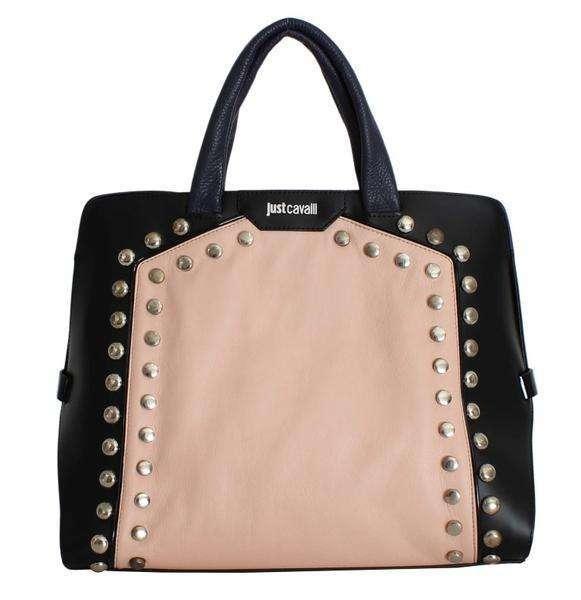 Cavalli Black Beige Calf Leather Shopping Tote Bag