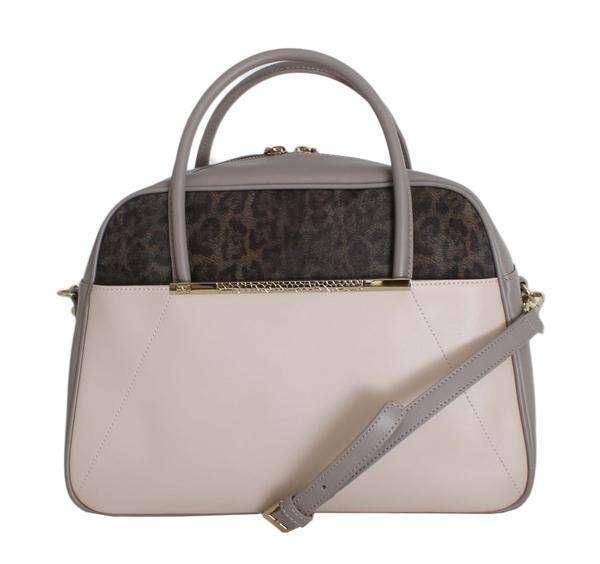 Cavalli Pink Taupe Leather Hand Shoulder Bag