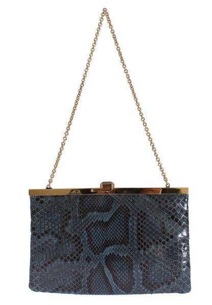 Dolce & Gabbana Bag Blue Python Snakeskin Shoulder Crystal Clutch