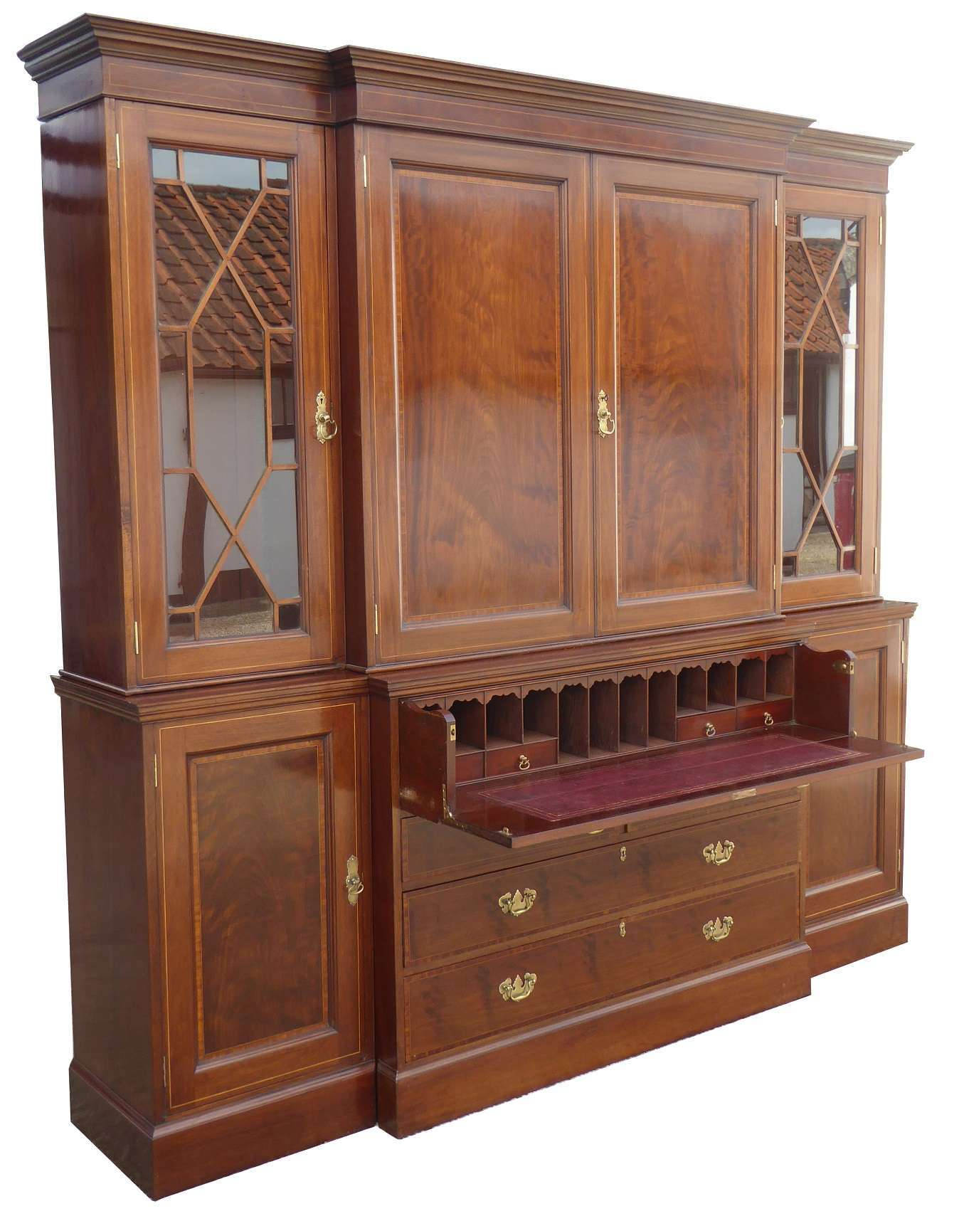 Edwardian Mahogany and Inlaid Breakfront Bookcase