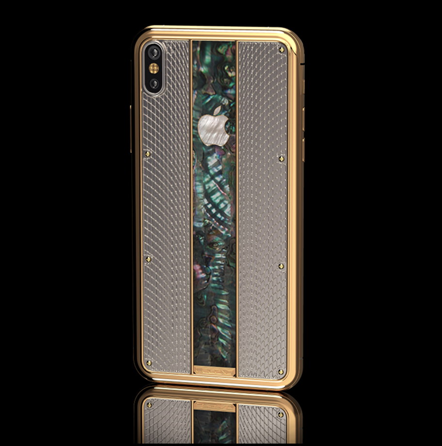 Bespoke iPhone XS with 24k solid gold and mother of pearl Apple logo