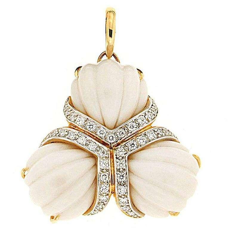 Triple Fan Hand-Carved Cocolon Cacholong Diamond Gold Pendant