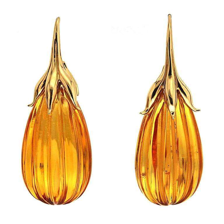 Amber drop Earrings with gold French Hook