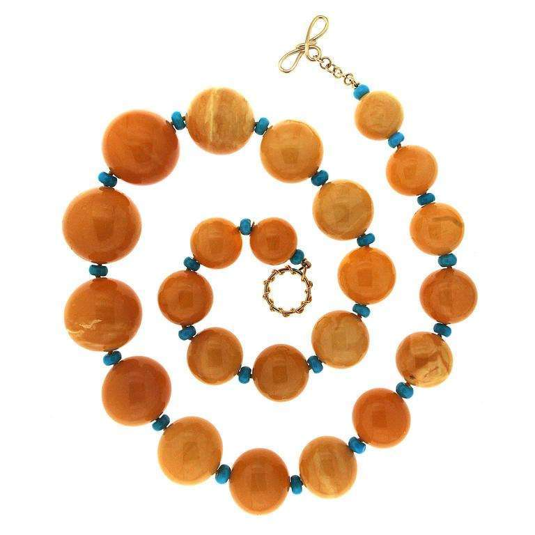 Yellow Butterscotch Amber and Turquoise Rondelles Necklace