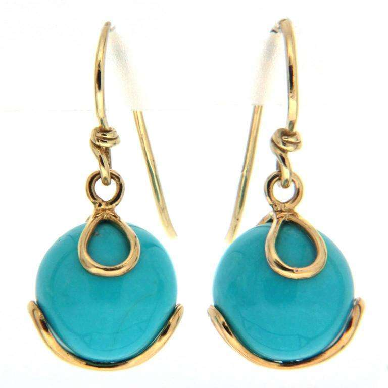 Carina Turquoise Ball French Wire Earrings