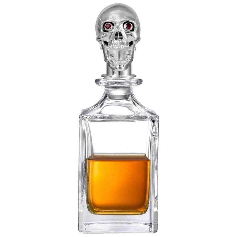 Deakin & Francis Polished Skull Head Crystal Decanter