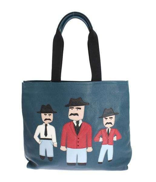 Dolce & Gabbana Blue Leather Sicily Hand Mens Shopping Bag