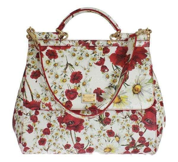 Dolce & Gabbana White SICILY Leather Roses Print Shoulder Bag