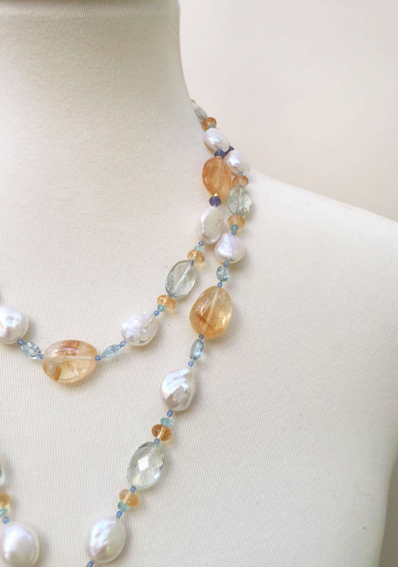 Pearl Sautoir with Blue and Yellow Semi Precious Beads and 14 Karat Gold Clasp